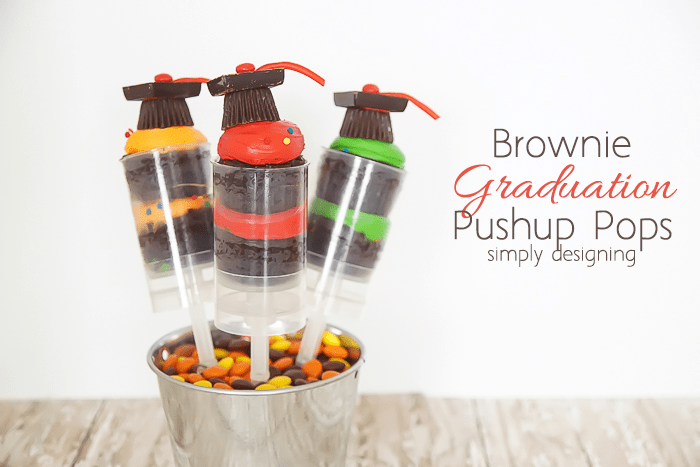 Brownie Graduation Pushup Pops - super cute for any graduation party