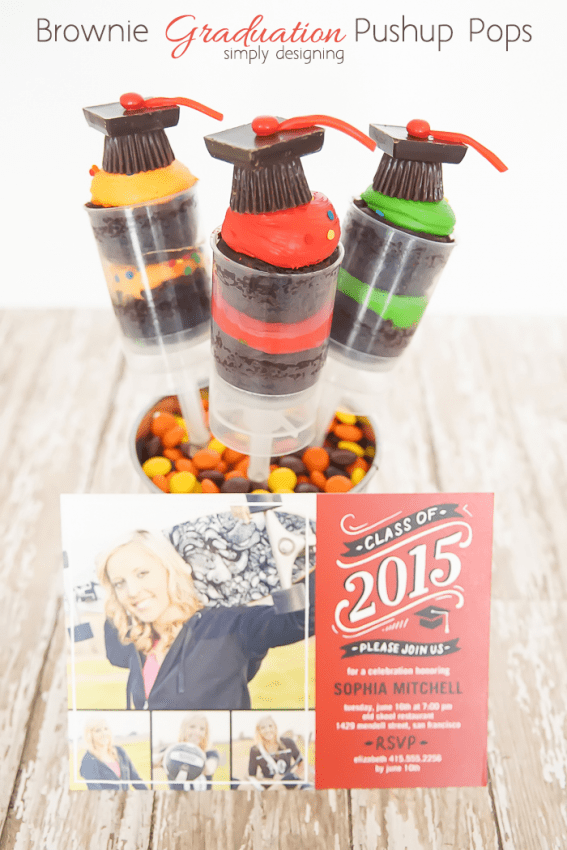Brownie Graduation Pushup Pops with Graduation Announcement
