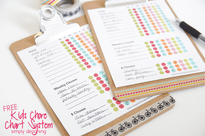 Kids Free C For Chart Printable On A Clipboard Decorated With Washi Tape