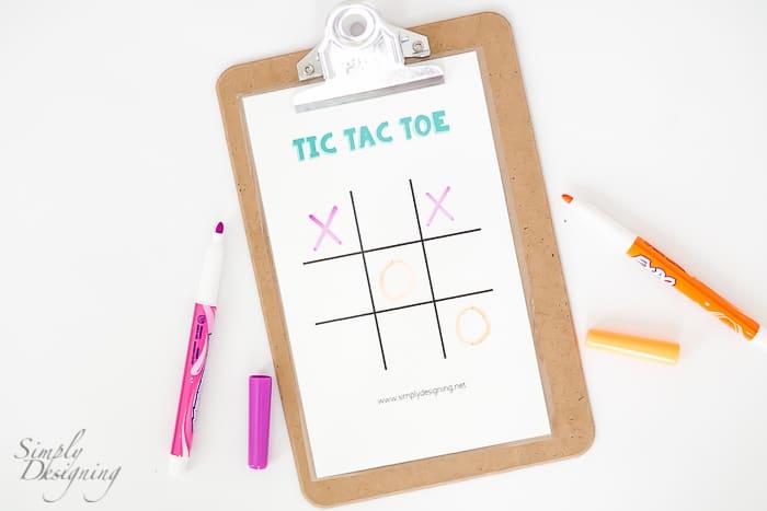Dry Erase Tic Tac Toe printable