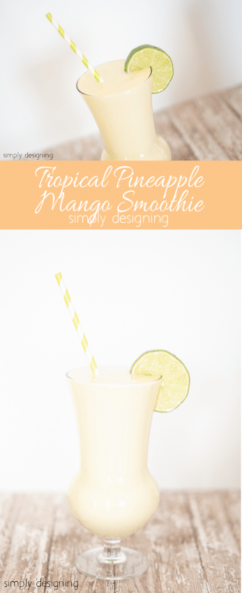 Tropical Pineapple Mango Smoothie - this is so simple to make and so refreshingly delicious