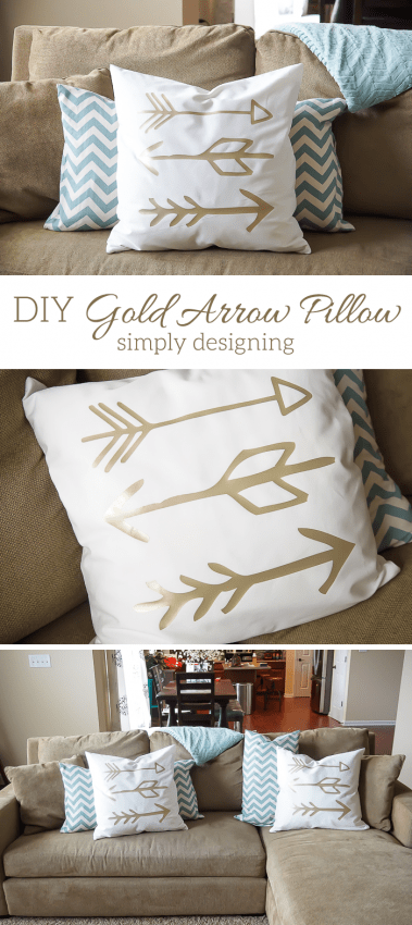 DIY Gold Arrow Pillows - this is such a fun home decor project - plus you will never believe what I used to make these