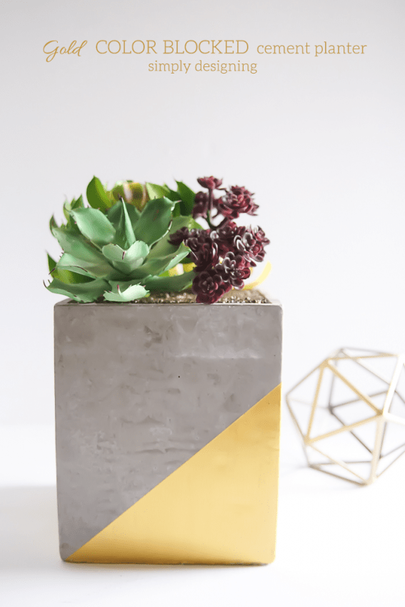 Gold Color Blocked Cement Planter - this is such a beautiful and modern DIY planter