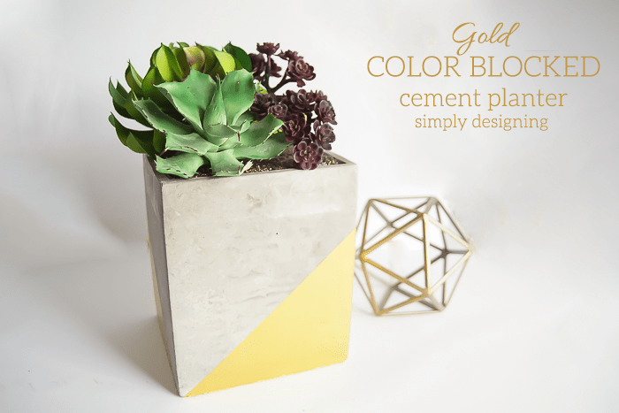 Gold Color Blocked Cement Planter