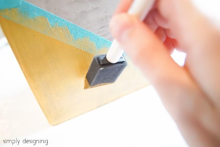 Gold Color Blocked Cement Planter - paint