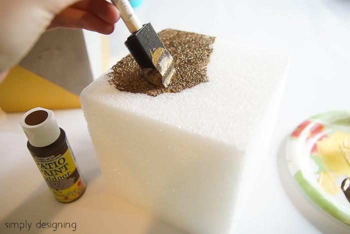Gold Color Blocked Cement Planter - paint styrofoam