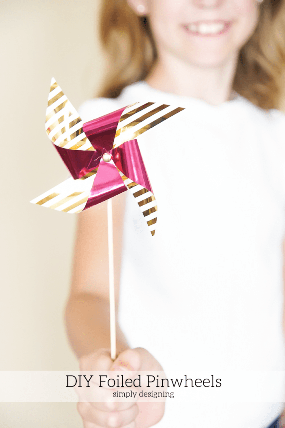 Kids can make these cute foiled pinwheels - come see how