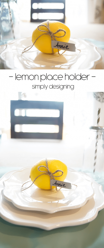 Lemon Place Holder with Twine and Washi Tape on a Faux Burlap Tablecloth - love this for summer or a wedding