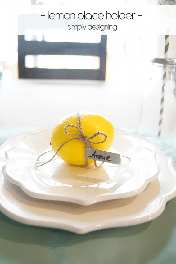 Lemon Place Holder with Twine and Washi Tape on a Faux Burlap Tablecloth