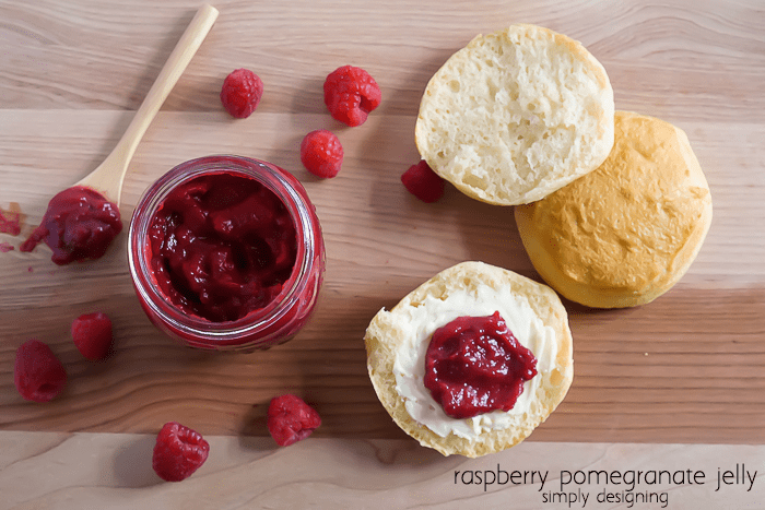 Raspberry Pomegranate Jelly served on biscuits