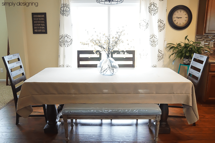 Table with Faux Burlap Tablecloth