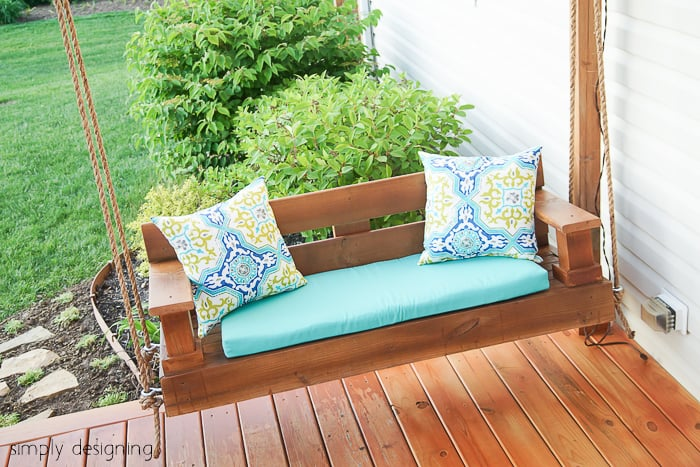 DIY Porch Swing with Pillows
