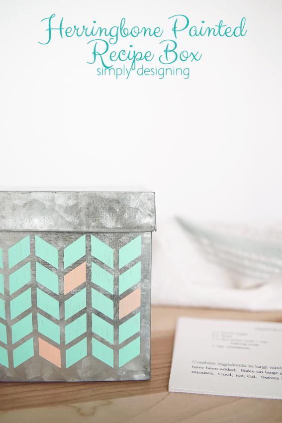 Herringbone Painted Recipe Box - cute way to personalize a plain metal recipe box