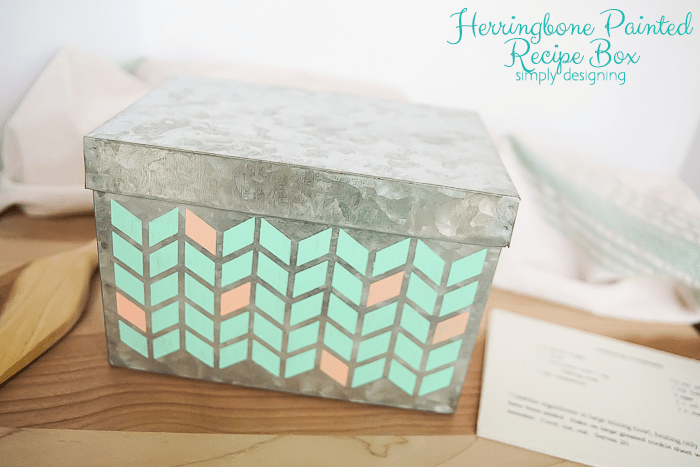 Herringbone Painted Recipe Box - such a fun and simple way to personalize a recipe box