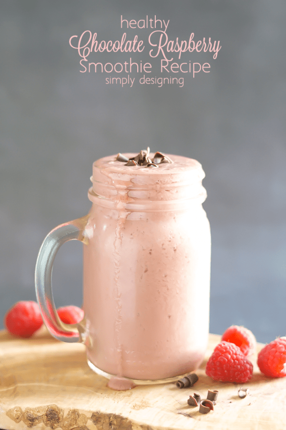 Healthy Chocolate Raspberry Smoothie Recipe - this chocolate smoothie tastes like a treat but it is actually healthy