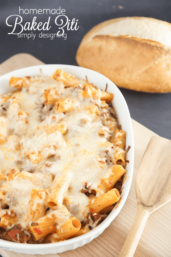 Homemade Baked Ziti Recipe - this is so simple and one of our favorite meals