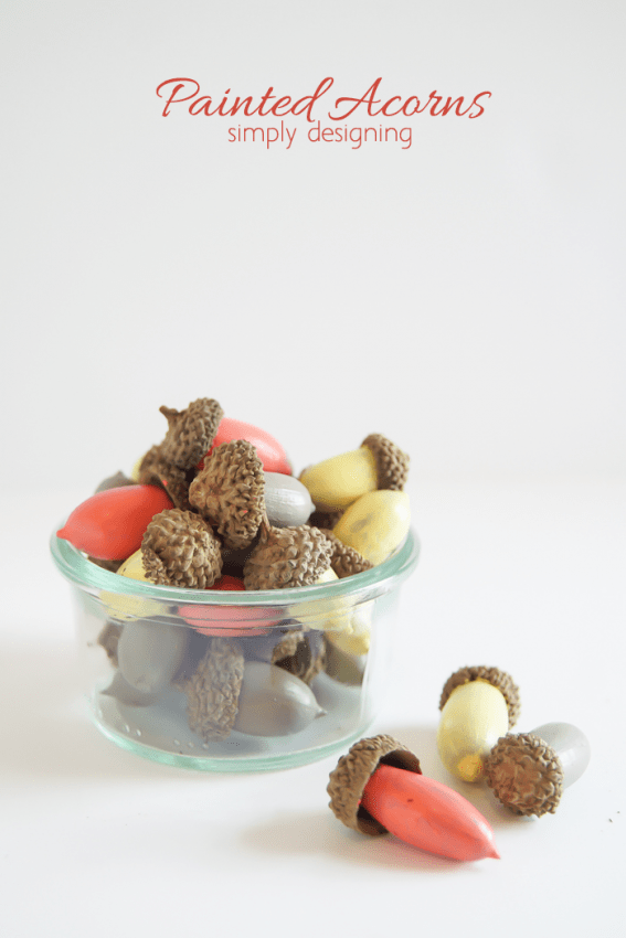 Painted Acorn Decor - cheap and simple yet elegant fall decor idea