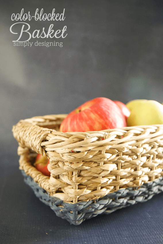 Color Blocked Basket - this simple project turned an ordinary basket into a beautiful modern decoration