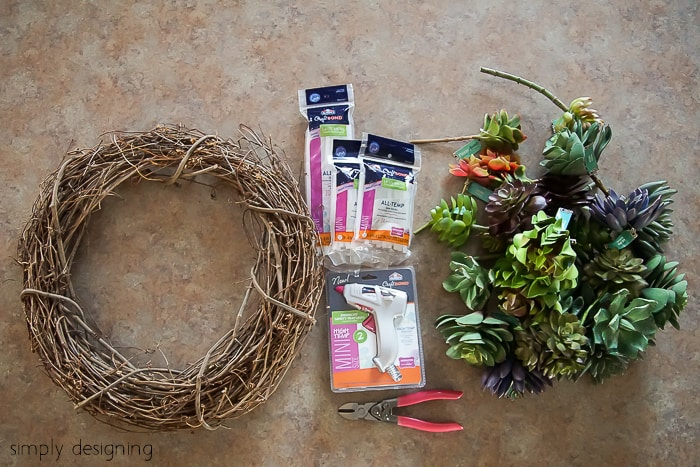 How to make a Faux Succulent Wreath-07612 - supplies
