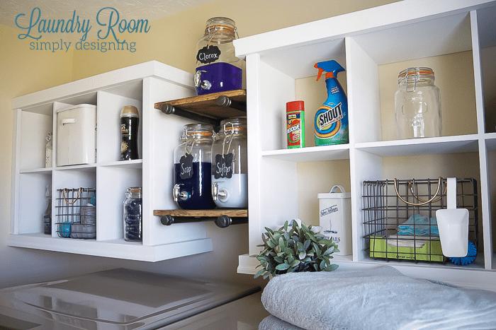Laundry Room Make Over - shelving hack