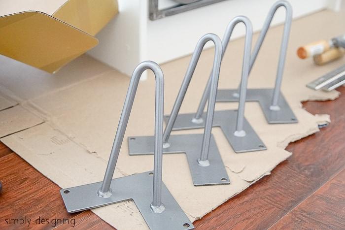 Modern Industrial Nightstand - hairpin legs