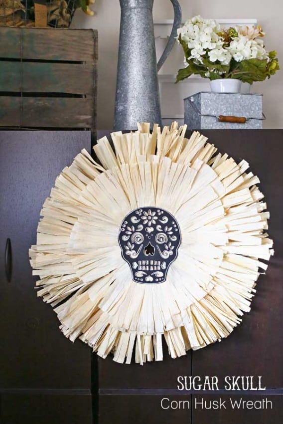 Sugar-Skull-Corn-Husk-Wreath