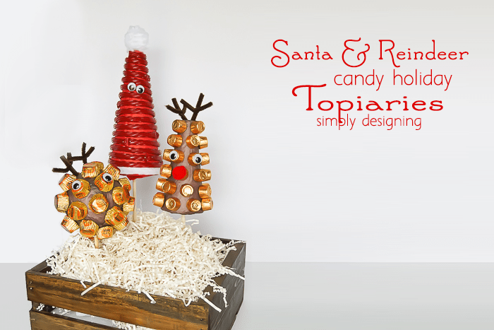 Santa and his Reindeer Candy Holiday Topiaries - such a fun holiday decoration and a great way to use left over candy