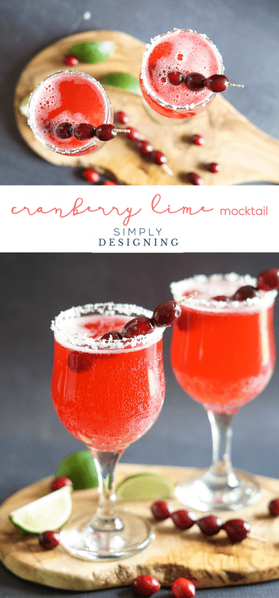 Cranberry Lime Mocktail - a deliciously fresh non-alcoholic drink for the holidays