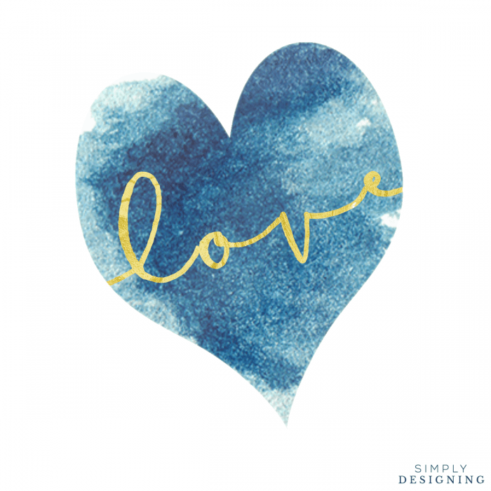 Blue Heart Love Printable Square