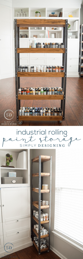 DIY Industrial Rolling Paint Storage - this is an easy afternoon diy project that is perfect for storing almost anything