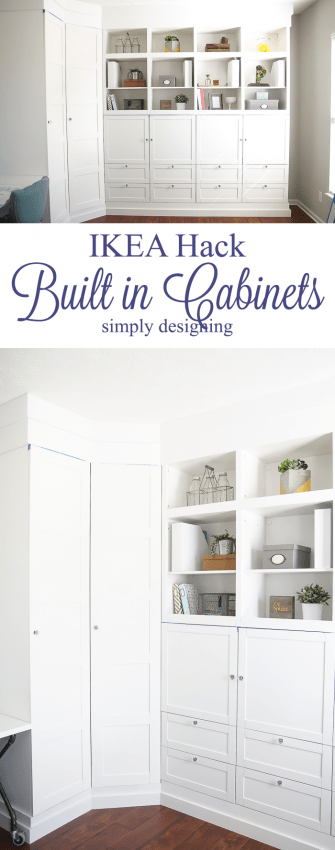 IKEA Hack - Building in Cabinets - such a great way to transform cheap cabinets into built in storage