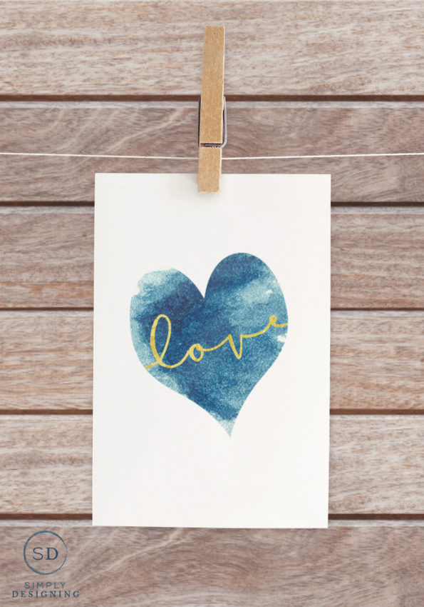 free Blue Heart Love Printable