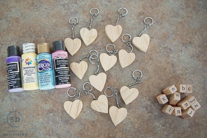 Conversation Heart Key Chain - supplies